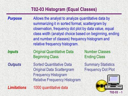 T02-03 - 1 T02-03 Histogram (Equal Classes) Purpose Allows the analyst to analyze quantitative data by summarizing it in sorted format, scattergram by.