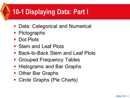 Slide 10.1- 1 10-1Displaying Data: Part I  Data: Categorical and Numerical  Pictographs  Dot Plots  Stem and Leaf Plots  Back-to-Back Stem and Leaf.