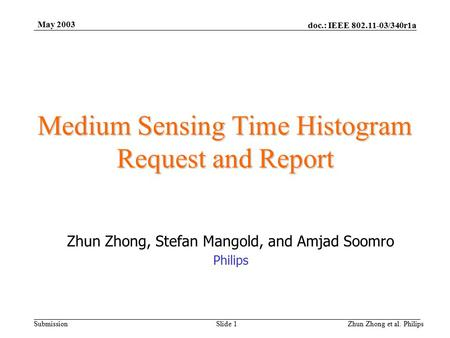 Doc.: IEEE 802.11-03/340r1a Submission May 2003 Zhun Zhong et al. PhilipsSlide 1 Medium Sensing Time Histogram Request and Report Zhun Zhong, Stefan Mangold,