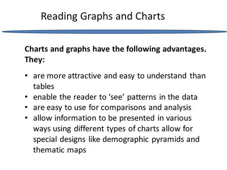 Reading Graphs and Charts are more attractive and easy to understand than tables enable the reader to 'see' patterns in the data are easy to use for comparisons.