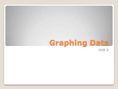 Graphing Data Unit 2. Graphs of Frequency Distributions Sometimes it is easier to identify patterns of a data set by looking at a graph of the frequency.