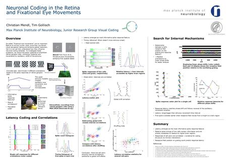 Neuronal Coding in the Retina and Fixational Eye Movements Christian Mendl, Tim Gollisch Max Planck Institute of Neurobiology, Junior Research Group Visual.