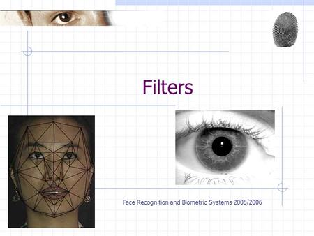 Face Recognition and Biometric Systems 2005/2006 Filters.