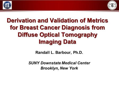 Derivation and Validation of Metrics for Breast Cancer Diagnosis from Diffuse Optical Tomography Imaging Data Randall L. Barbour, Ph.D. SUNY Downstate.