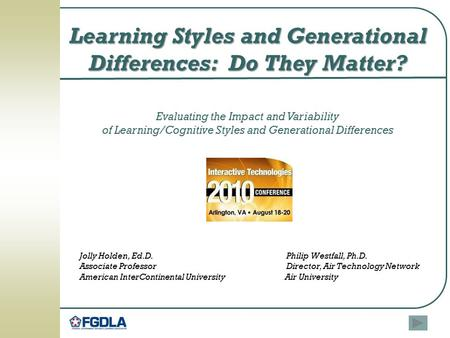 Learning Styles and Generational Differences: Do They Matter?