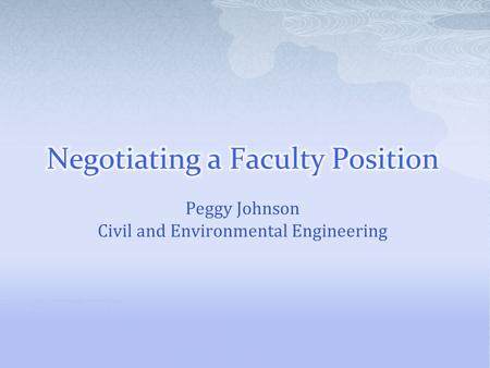 Peggy Johnson Civil and Environmental Engineering.