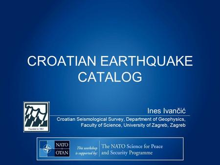 CROATIAN EARTHQUAKE CATALOG