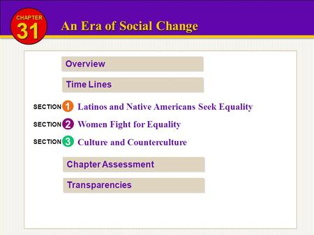 CHAPTER 31 An Era of Social Change Overview Time Lines 1