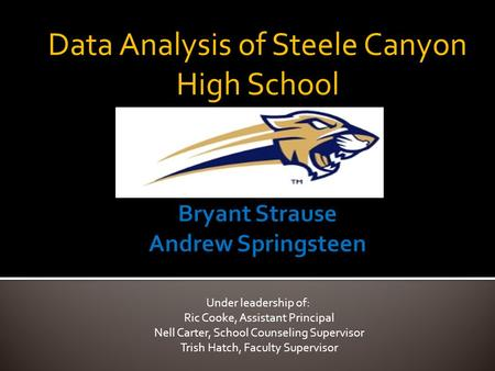 Data Analysis of Steele Canyon High School Under leadership of: Ric Cooke, Assistant Principal Nell Carter, School Counseling Supervisor Trish Hatch, Faculty.