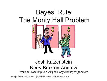 Bayes' Rule: The Monty Hall Problem Josh Katzenstein Kerry Braxton-Andrew Problem From:  Image from: