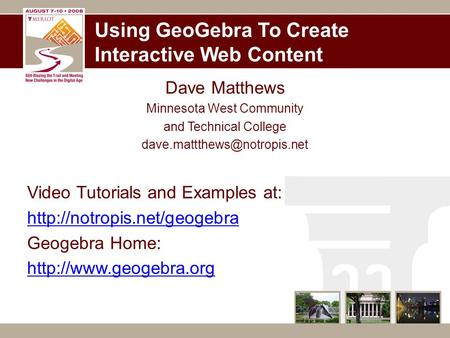 Using GeoGebra To Create Interactive Web Content