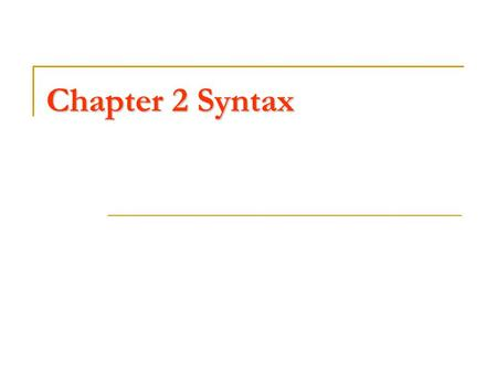 Chapter 2 Syntax. Syntax The syntax of a programming language specifies the structure of the language The lexical structure specifies how words can be.