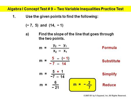 Algebra I Concept Test # 9 – Two Variable Inequalities Practice Test