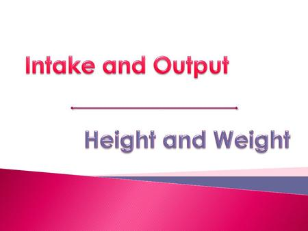 Intake and Output Height and Weight.
