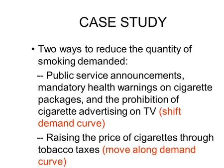 CASE STUDY Two ways to reduce the quantity of smoking demanded: -- Public service announcements, mandatory health warnings on cigarette packages, and the.