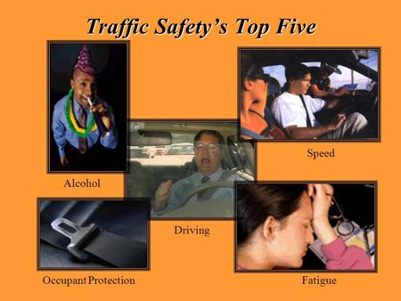 Traffic Safety's Top Five Alcohol Occupant Protection Driving Speed Fatigue.