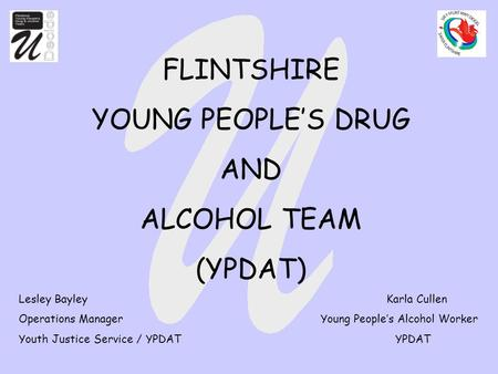FLINTSHIRE YOUNG PEOPLE'S DRUG AND ALCOHOL TEAM (YPDAT) Lesley Bayley Karla Cullen Operations Manager Young People's Alcohol Worker Youth Justice Service.