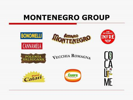 "MONTENEGRO GROUP. The group at a glance  Independent Italian holding 100% owned by an Italian family  Based in Bologna, in the area of the Italian ""Food."