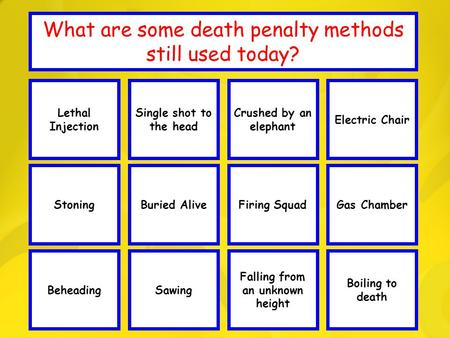 Well Done! WIPEOUTWell Done! WIPEOUT Well Done! What are some death penalty methods still used today? Lethal Injection Stoning Single shot to the head.