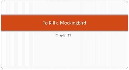 Chapter 11 To Kill a Mockingbird. Lived alone except for a Negro girl that looked after her constantly. Lived two doors up the street from the Finches.