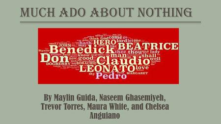Much Ado About Nothing By Maylin Guida, Naseem Ghasemiyeh, Trevor Torres, Maura White, and Chelsea Anguiano.