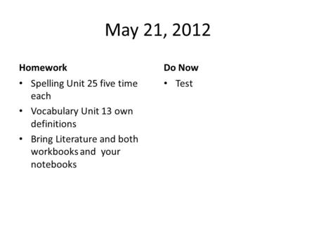 May 21, 2012 Homework Spelling Unit 25 five time each Vocabulary Unit 13 own definitions Bring Literature and both workbooks and your notebooks Do Now.