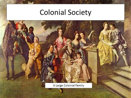 Colonial Society A Large Colonial Family. The Family in Colonial Times Many colonists lived with their extended families Most colonists lived on a farm.