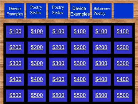 Device Examples $100 $200 $300 $400 $500 Poetry Styles Shakespeare's Poetry.