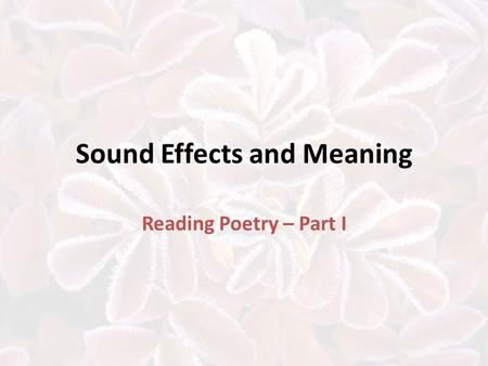 Sound Effects and Meaning