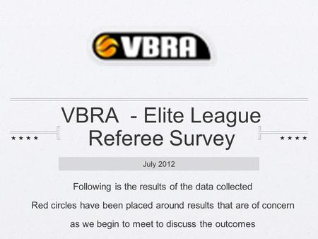 VBRA - Elite League Referee Survey July 2012 Following is the results <strong>of</strong> the data collected Red circles have been placed around results that are <strong>of</strong> concern.