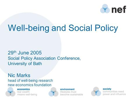 Well-being and Social Policy 29 th June 2005 Social Policy Association Conference, University of Bath Nic Marks head of well-being research new economics.