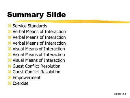 Summary Slide zService Standards zVerbal Means of Interaction zVisual Means of Interaction zGuest Conflict Resolution zEmpowerment zExercise Figure 14-1.