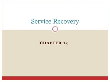 CHAPTER 13 Service Recovery. Why is service recovery so important? Discussion Question.