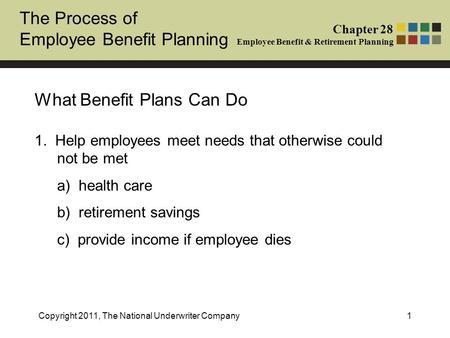 The Process of Employee Benefit Planning Chapter 28 Employee Benefit & Retirement Planning Copyright 2011, The National Underwriter Company1 What Benefit.