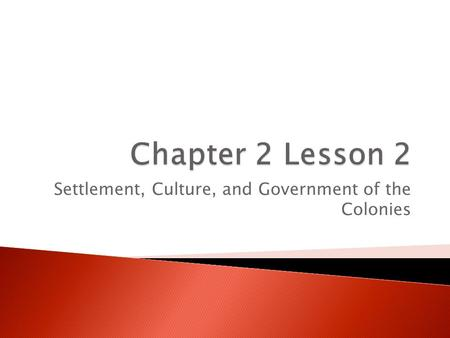 Settlement, Culture, and Government of the Colonies