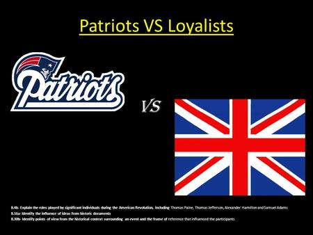 Patriots VS Loyalists VS