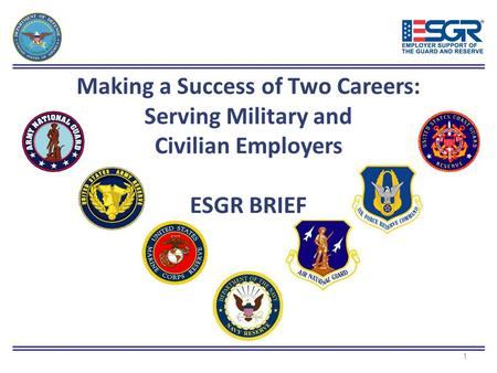 Making a Success of Two Careers: Serving Military and Civilian Employers ESGR BRIEF 1.