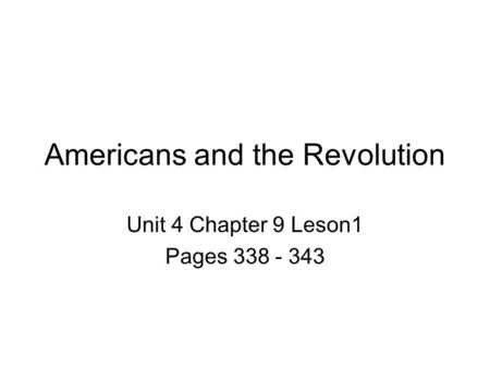 Americans and the Revolution