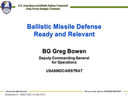 Ballistic Missile Defense Ready and Relevant Deputy Commanding General