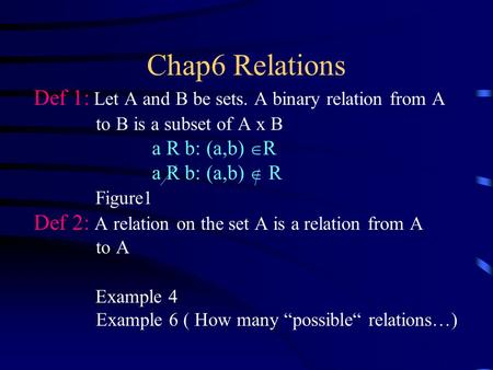 Chap6 Relations Def 1: Let A and B be sets. A binary relation from A