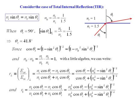 Consider the case of Total Internal Reflection (TIR): tt ii n t = 1 n i = 1.5 with a little algebra, we can write: