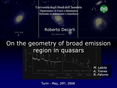 On the geometry of broad emission region in quasars Roberto Decarli Turin - May, 20 th, 2008 Università degli Studi dell'Insubria Dipartimento di Fisica.