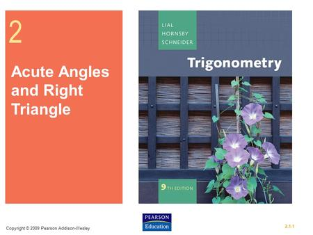 Copyright © 2009 Pearson Addison-Wesley 2.1-1 2 Acute Angles and Right Triangle.