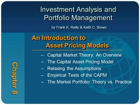 Investment Analysis and Portfolio Management by Frank K