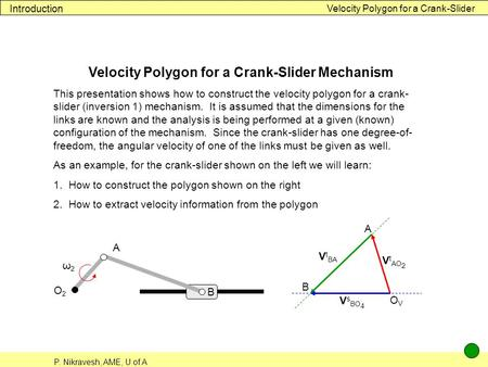 P. Nikravesh, AME, U of A Velocity Polygon for a Crank-Slider Introduction Velocity Polygon for a Crank-Slider Mechanism This presentation shows how to.