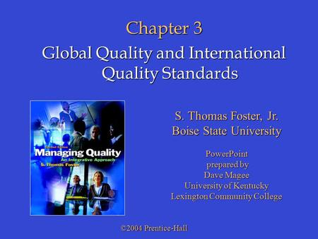 Chapter 3 Global Quality and International Quality Standards