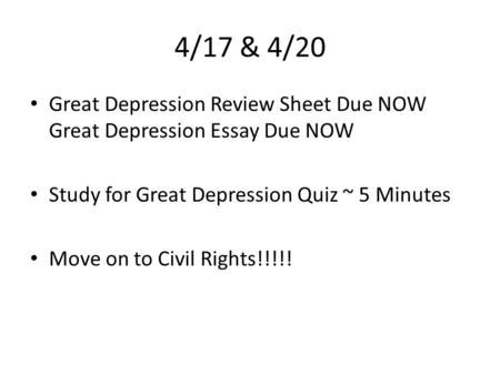 the civil rights movement ib history essential questions what  4 17 4 20 great depression review sheet due now great depression essay