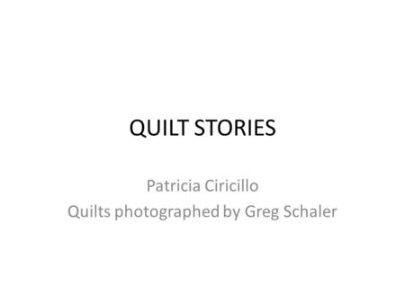 Patricia Ciricillo Quilts photographed by Greg Schaler
