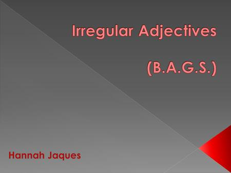 Normally when describing a noun, the adjective comes after it: La table brune. Irregular adjectives are adjectives that come before the noun it is describing: