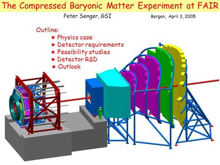 The Compressed Baryonic Matter Experiment at FAIR Outline:  Physics case  Detector requirements  Feasibility studies  Detector R&D  Outlook Peter.